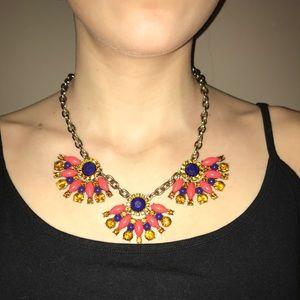 J.Crew orange and navy stone necklace
